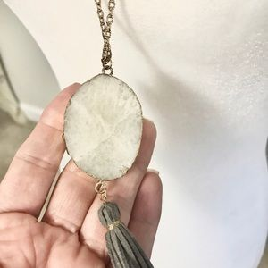 Jewelry - 🎁Long Pendant with Stone & Leather